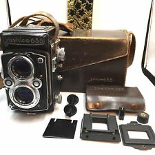 [EXC5] Yashica 635 120 film + 35mm TLR film Camera w/ Adapter kit + bag RARE