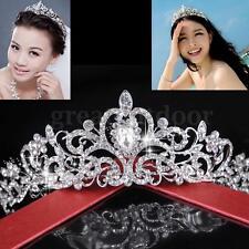Wedding Bridal Princess Hair Tiara Crown Crystal Austrian Veil Headband Prom
