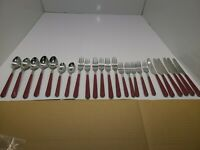 24 Pc Vintage GIBSON 18/0 Stainless Flatware Plastic Handles