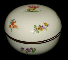 MEISSEN LIDDED TRINKET BOX FLORAL DESIGN GOLD TRIM MINT