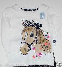 baby Gap NWT Girl's  Ivory Horse Top w/ Navy Glitter Trimmed 3-D Bow