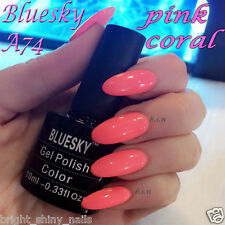 Bluesky A74 PINK BRIGHT NEON CORAL UV/LED Soak Off Gel Nail Polish 10ml Freepost