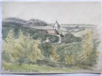 Acquerello Impressionista circa 1900 Paesaggio Chiesa Del Villaggio e Wald