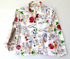 Graff Outdoor Cafe Red Flower On White Cropped Light Cotton Jacket S