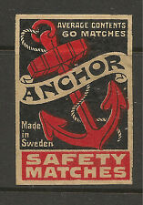 Australia 1920 ANCHOR Safety Matches Matchbox Label Very Good Condition