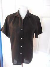 Ralph Lauren Blue Label black linen short sleeve blouse shirt top size 8