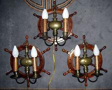 3 VTG NAUTICAL MARITIME SHIP WOOD BRONZE GLASS SHADE SCONCES CHANDELIER FIXTURE