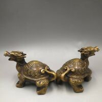 Chinese Antique Old copper hand-made dragon tortoise a pair