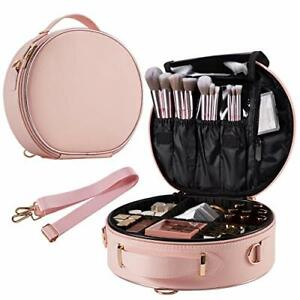Round Makeup Bag Portable Travel Makeup Train Case PU Leather Cosmetic Pink