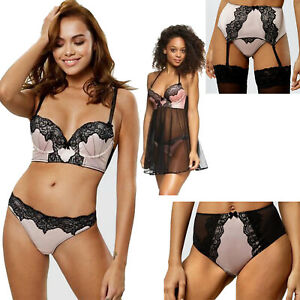 Ann Summers Nude Pink/Black Lace Lingerie Bra Thong Brief Suspender Babydoll