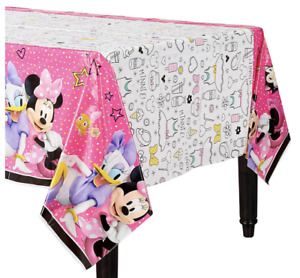 Disney Minnie Mouse Happy Helpers Plastic Tablecover Girl Birthday Party Decor..