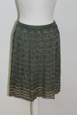 MISSONI Ladies Green Cotton Blend Zig Zag Knitted A-line Skirt Size IT38 UK6