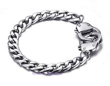 Fashion Men's Silver Stainless Steel Handcuff Curb Chain Cuff Bracelet