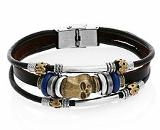 Fashion Leather Dark Brown Bracelet with Skull Charms and Stainless Steel Clasp