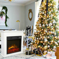 18 Inch Fake Wood Electric Fireplace White Wood Cabinet Style 1400W Single Color