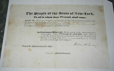 1842 MILITARY COMMISSION SIGNED BY NY GOVERNOR WILLIAM H SEWARD & RUFUS KING