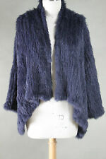 NEW 100% RABBIT FUR SWING LONG SLEEVE JACKET NAVY FREE SIZE Free P & P