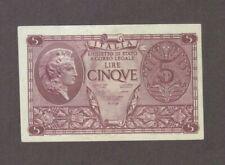 1944 5 LIRE ITALY ITALIAN CURRENCY BANKNOTE NOTE MONEY BANK BILL CASH EUROPE WW2