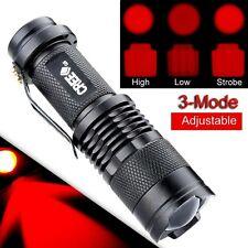 Pocket CREE Q5 Zoom Adjustable Red Light LED Flashlight Touch Adjustable 3-Mode