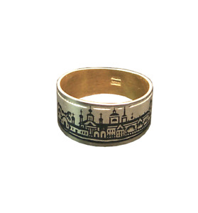 22k Gold pl 925 Niello Silver 12mm Wide Band Ring  6.5 M Russian Town View
