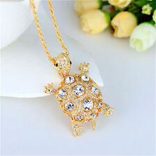 Turtle Gorgeous Crystal Blue Pendant Sea Ocean Animal Gift Necklace Chain