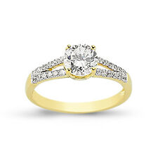 9CT GOLD LADIES SINGLE CZ SOLITAIRE ENGAGEMENT RING CUBIC ZIRCONIA WEDDING BAND