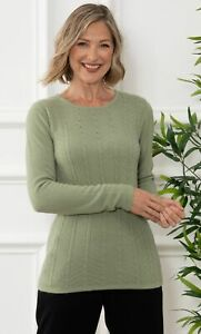 Anna Rose Embellished Cable Knit Top  - Ladies Womens - Klass Collection