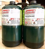COLEMAN 2 Pk Propane Fuel Bottle Cylinder 16 oz Camping FULL Gas Prop Tank NEW