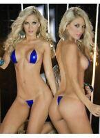 Blue Extreme Metallic Micro Triangle Top & Side Tie G-String Thong Bikini Set (7