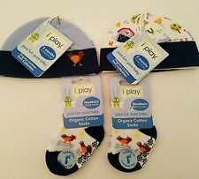 Organic Cotton Beanie Socks Baby Boy Blue Farm Rooster  3 months 2 each Lot of 4