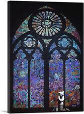 ARTCANVAS Graffiti Stained Glass - Blue Canvas Art Print by Banksy