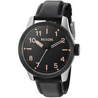 Nixon Men's Watch Safari Leather Quartz Black Dial Strap A9752051