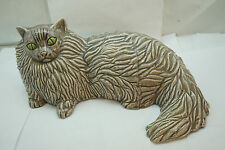 VINTAGE ART POTTERY CAT FIGURINE LARGE FIRESIDE FULL SIZE PERSIAN SIGNED USA 14