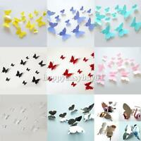 12PCS 3D DIY Butterfly Wall Stickers Decals Kids Room Home Art Decoration Decor