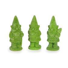 Green Gnome Topiary Figurines, Set of 3 - Miniature Fairy Garden Dollhouse
