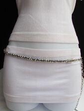 """Women High Waist Hip Metal Chains Round Silver Beads Fashion Belt 31""""-44"""" M L XL"""
