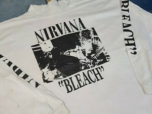 Vtg 90s NIRVANA Bleach Grunge Rock l/s single stitch music band concert t shirt