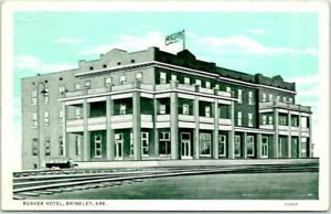 Brinkley, Arkansas Postcard RUSHER HOTEL Railroad Tracks View / 1935 ARK. Cancel