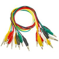 50cm Coloured Test Leads With 25mm Crocodile Alligator Clips 10 leads 5 colour