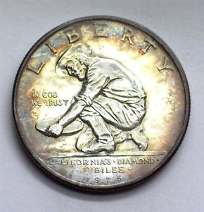 1925-S CALIFORNIA JUBILEE COMMEMORATIVE SILVER 50 CENTS NICE TONING!!