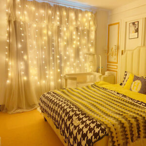 300 LED Curtain Fairy Lights String Hanging Wall Lights Wedding Party Decor 3X3M