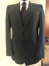 "VTG Grey Pinstripe 3 PC Suit Giorgio Sant Angelo 42R 34""W X 30"" British Tailor"