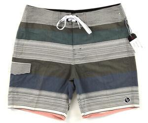 NWT EZEKIEL Multicolor Stripe Drawstring Board Shorts Trunks ~ Men's Size 36