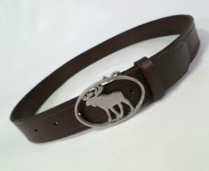 Abercrombie & Fitch Leather Belt 30 Moose Buckle Small Medium Brown Girls