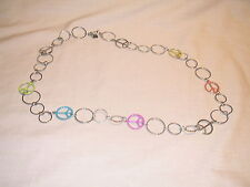 Womens Silver Necklace with Different Color Peace Signs, Fashion Jewlery