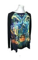 NEW Cirque Du Soleil Women's Size M Graphic Fly Back Long Sleeve Top Black Knit