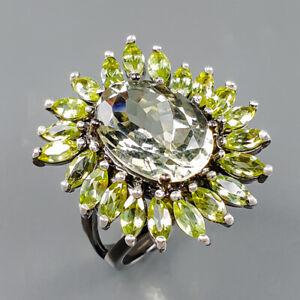 Jewlry Fine Art Green Amethyst Ring Silver 925 Sterling  Size 7.75 /R167054