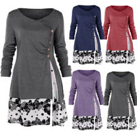 Women Plain Button Draped Floral Splicing Long Tunic Shirt Loose Blouse Tops NEW