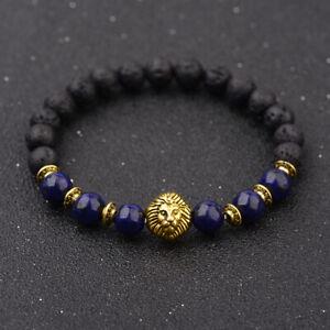 2021 Men Rock Lava Stone Gold Silver Lion Beaded Bracelet Black Volcanic Bangle