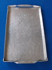 Vintage Keystone ware Rose Etched Hand Hammered Forged Aluminum Tray
